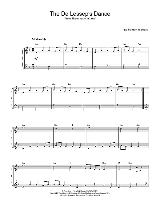 Stephen Warbeck The De Lessep's Dance (from Shakespeare In Love) sheet music notes and chords. Download Printable PDF.