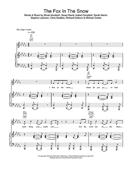Belle & Sebastian Fox In The Snow sheet music notes and chords. Download Printable PDF.