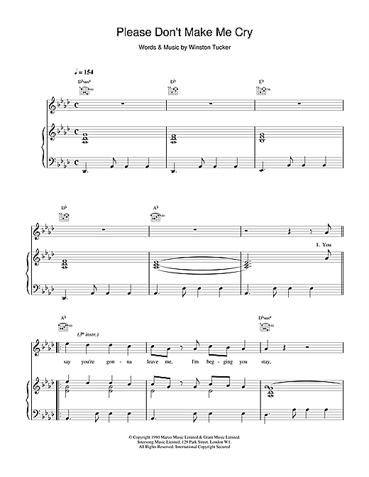 UB40 Please Don't Make Me Cry sheet music notes and chords. Download Printable PDF.