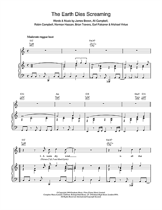 UB40 The Earth Dies Screaming sheet music notes and chords. Download Printable PDF.
