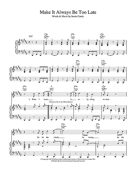 Del Amitri Make It Always Be Too Late sheet music notes and chords. Download Printable PDF.