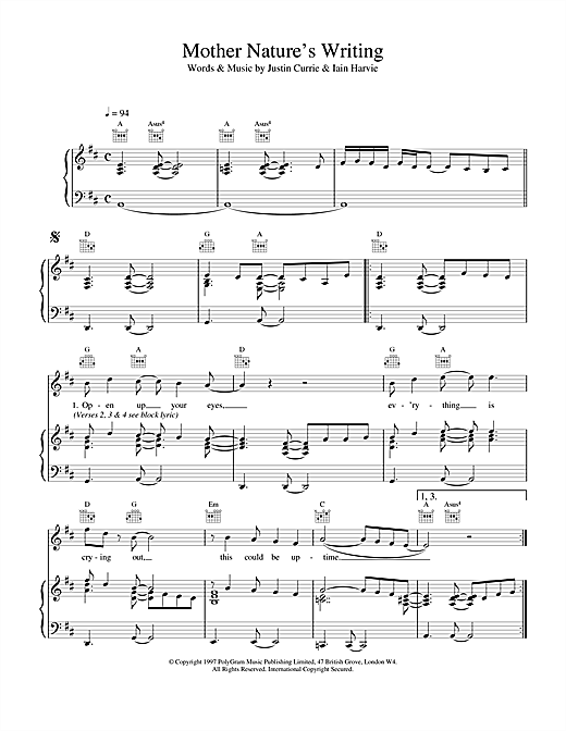 Del Amitri Mother Nature's Writing sheet music notes and chords. Download Printable PDF.