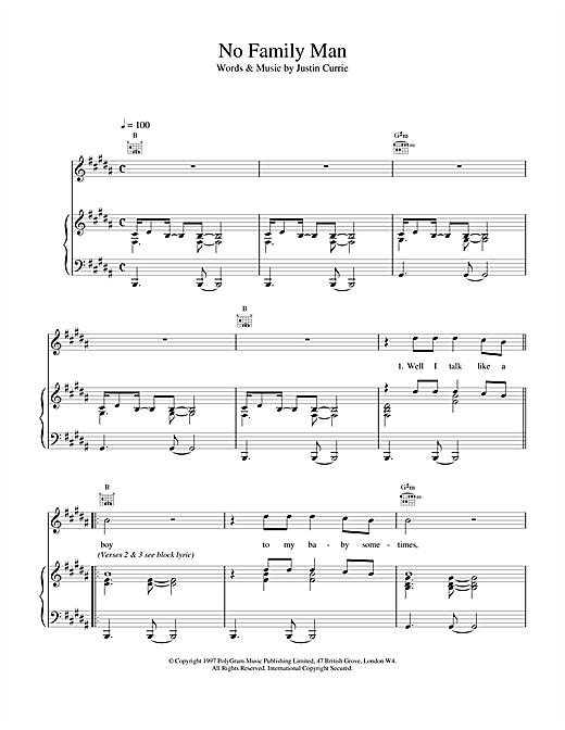 Del Amitri No Family Man sheet music notes and chords. Download Printable PDF.