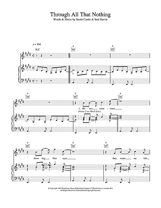 Del Amitri Through All That Nothing sheet music notes and chords. Download Printable PDF.