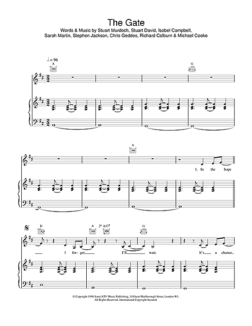 Belle & Sebastian The Gate sheet music notes and chords. Download Printable PDF.