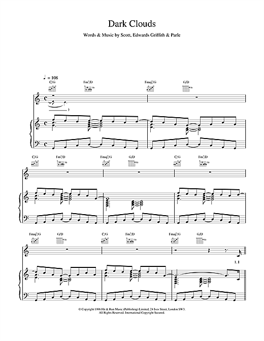 Space Dark Clouds sheet music notes and chords. Download Printable PDF.