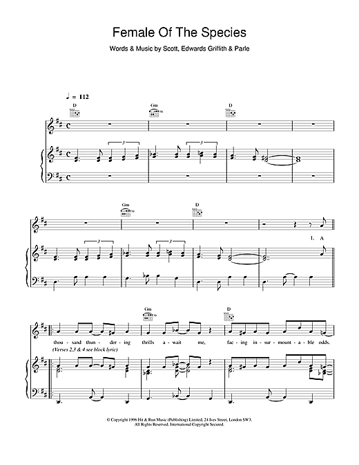 Space Female Of The Species sheet music notes and chords. Download Printable PDF.