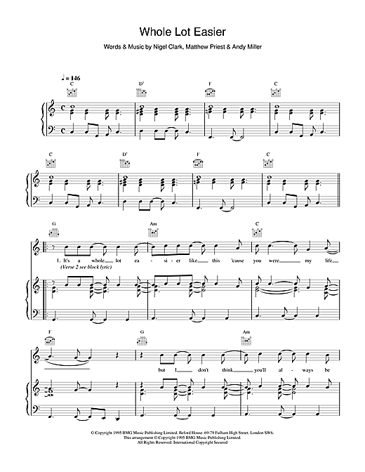 Dodgy Whole Lot Easier sheet music notes and chords. Download Printable PDF.