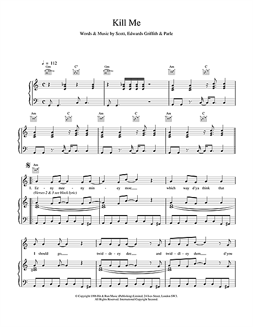 Space Kill Me sheet music notes and chords. Download Printable PDF.