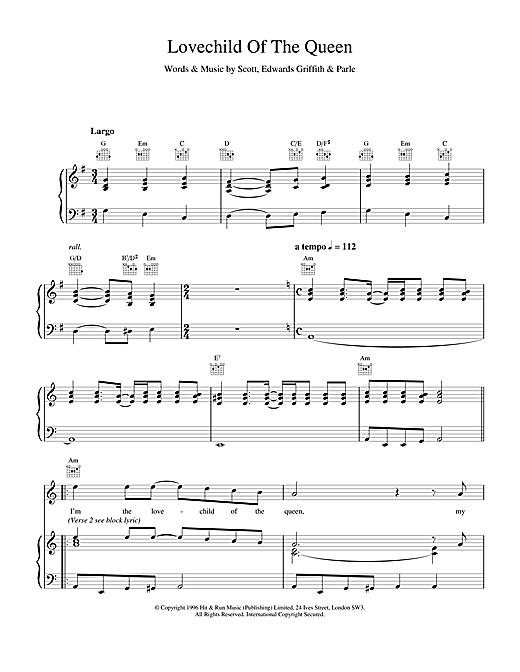 Space Lovechild Of The Queen sheet music notes and chords. Download Printable PDF.