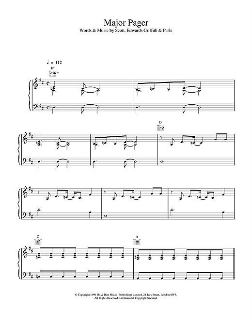 Space Major Pager sheet music notes and chords. Download Printable PDF.