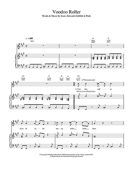 Space Voodoo Roller sheet music notes and chords. Download Printable PDF.