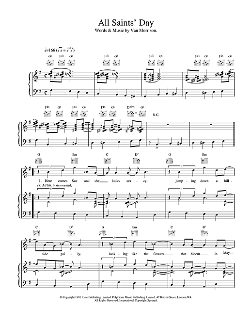 Van Morrison All Saint's Day sheet music notes and chords. Download Printable PDF.