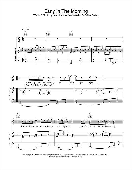 Van Morrison Early In The Morning sheet music notes and chords. Download Printable PDF.