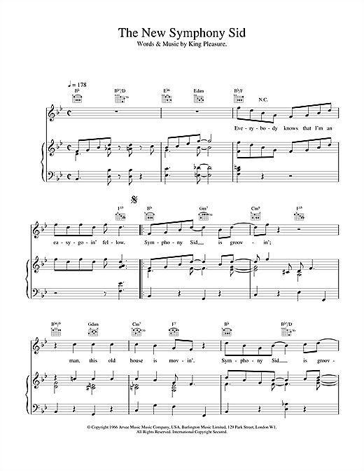 Van Morrison The New Symphony Sid sheet music notes and chords. Download Printable PDF.