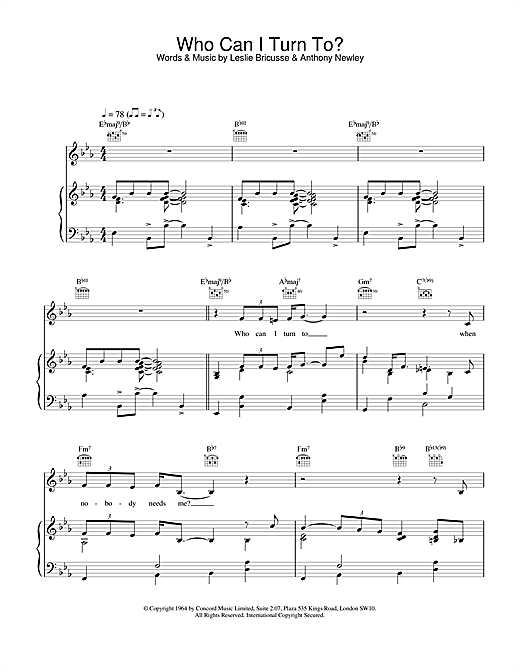 Van Morrison Who Can I Turn To? sheet music notes and chords. Download Printable PDF.