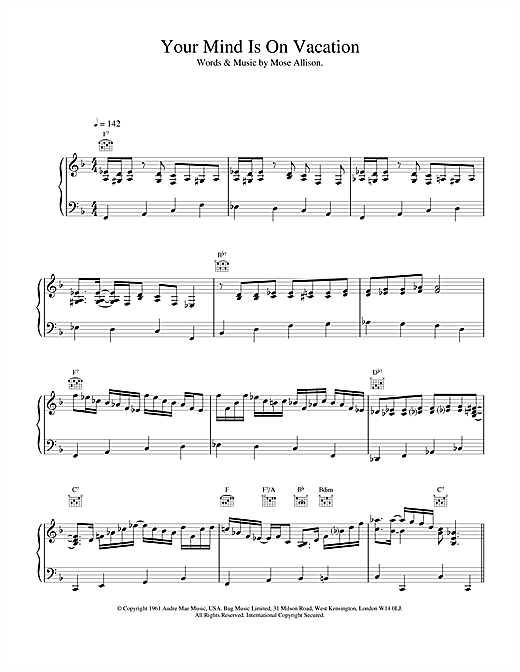 Van Morrison Your Mind Is On Vacation sheet music notes and chords. Download Printable PDF.