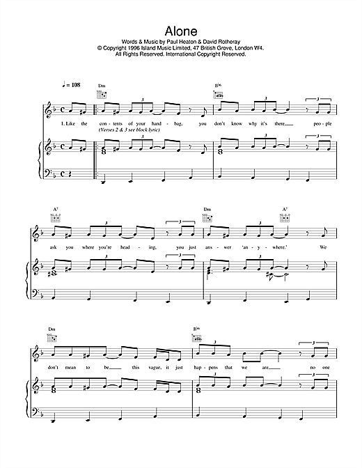 The Beautiful South Alone sheet music notes and chords. Download Printable PDF.