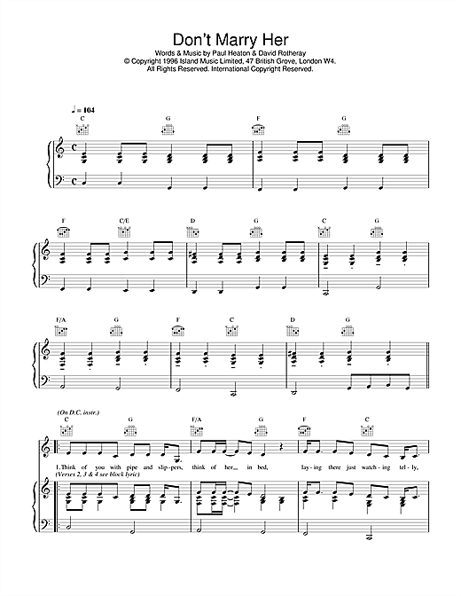 The Beautiful South Don't Marry Her sheet music notes and chords. Download Printable PDF.
