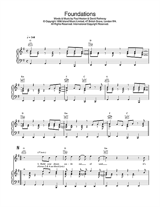 The Beautiful South Foundations sheet music notes and chords. Download Printable PDF.