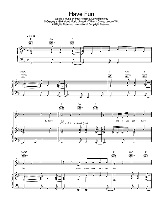 The Beautiful South Have Fun sheet music notes and chords. Download Printable PDF.