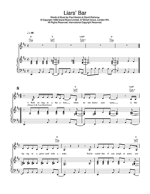 The Beautiful South Liar's Bar sheet music notes and chords. Download Printable PDF.