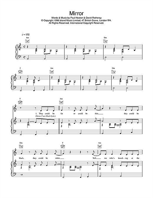 The Beautiful South Mirror sheet music notes and chords. Download Printable PDF.