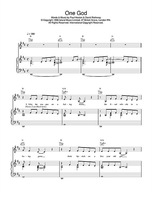 The Beautiful South One God sheet music notes and chords. Download Printable PDF.