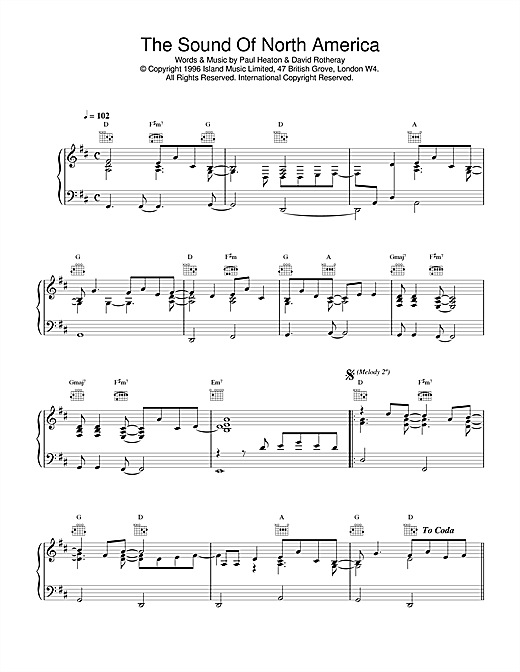The Beautiful South The Sound Of North America sheet music notes and chords. Download Printable PDF.