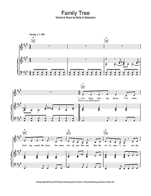 Belle & Sebastian Family Tree sheet music notes and chords. Download Printable PDF.
