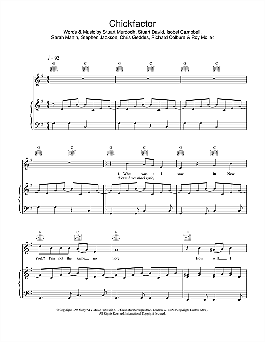 Belle & Sebastian Chickfactor sheet music notes and chords. Download Printable PDF.