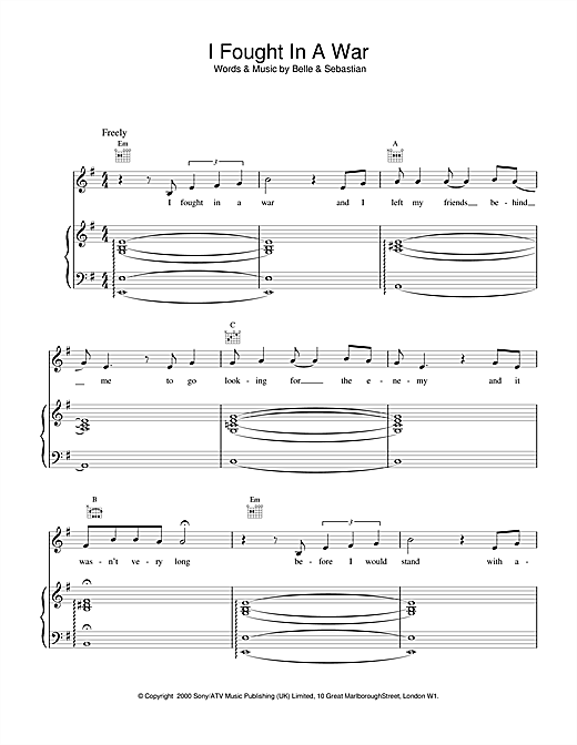 Belle & Sebastian I Fought In A War sheet music notes and chords. Download Printable PDF.