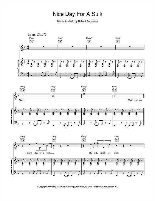 Belle & Sebastian Nice Day For A Sulk sheet music notes and chords. Download Printable PDF.