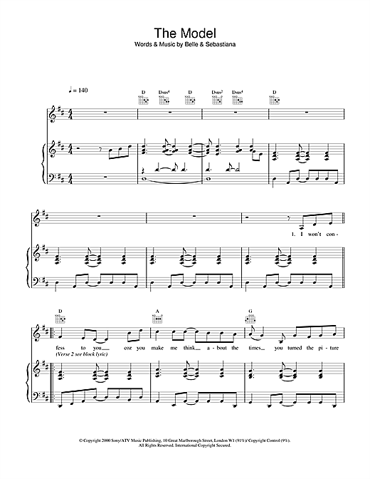 Belle & Sebastian The Model sheet music notes and chords. Download Printable PDF.