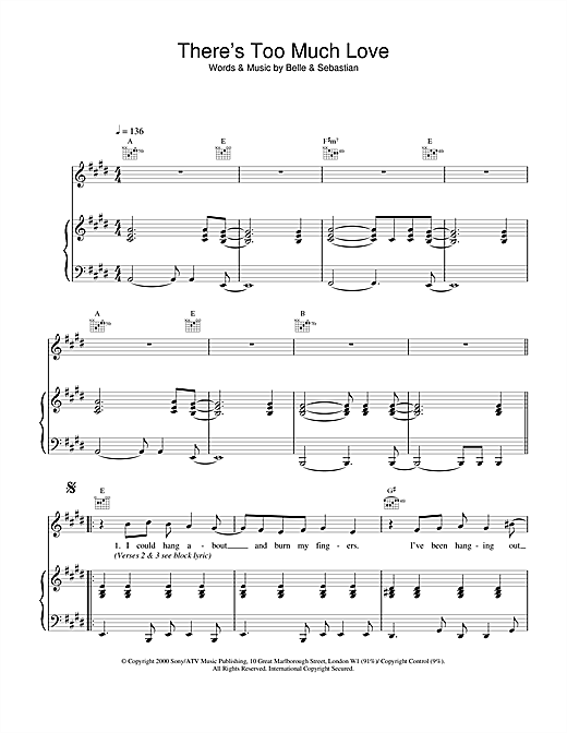 Belle & Sebastian There's Too Much Love sheet music notes and chords. Download Printable PDF.
