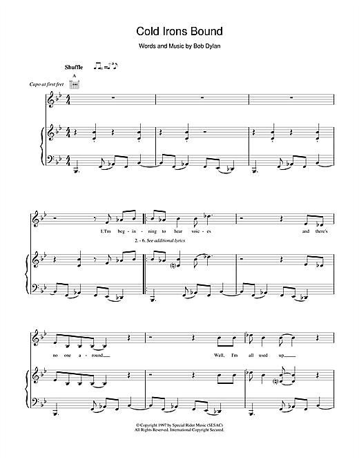 Bob Dylan Cold Irons Bound sheet music notes and chords. Download Printable PDF.