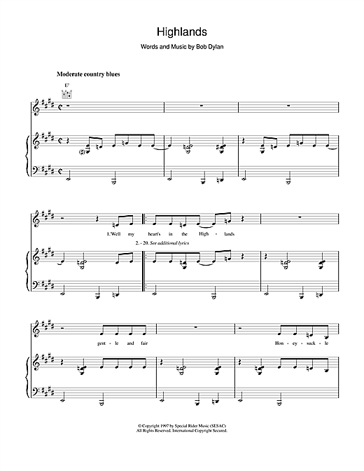 Bob Dylan Highlands sheet music notes and chords. Download Printable PDF.