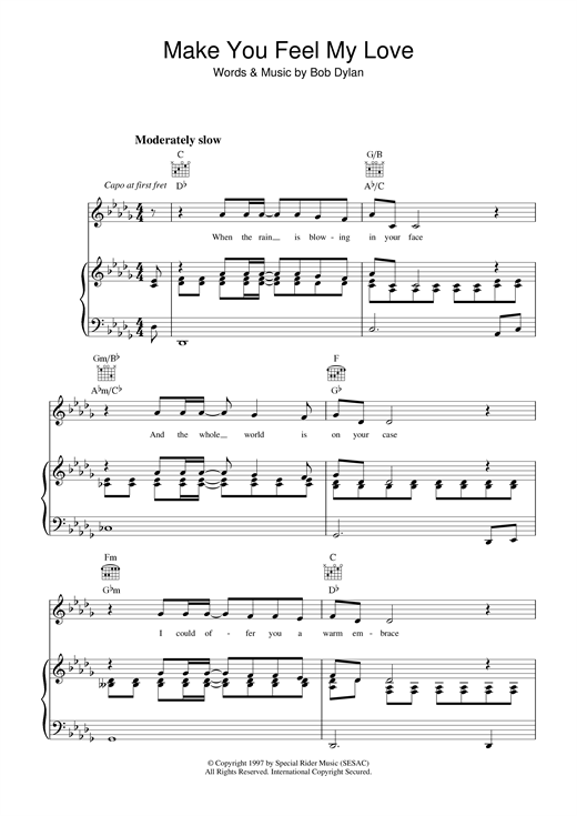 Bob Dylan Make You Feel My Love sheet music notes and chords. Download Printable PDF.