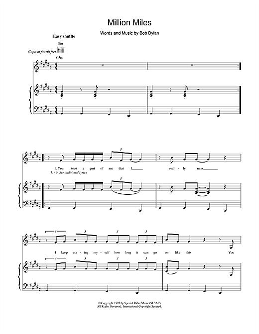 Bob Dylan Million Miles sheet music notes and chords. Download Printable PDF.