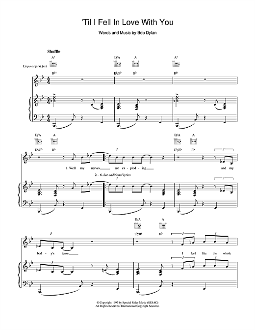 Bob Dylan 'Til I Fell In Love With You sheet music notes and chords. Download Printable PDF.