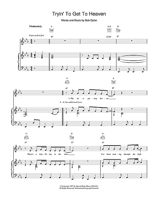 Bob Dylan Tryin'To Get To Heaven sheet music notes and chords. Download Printable PDF.