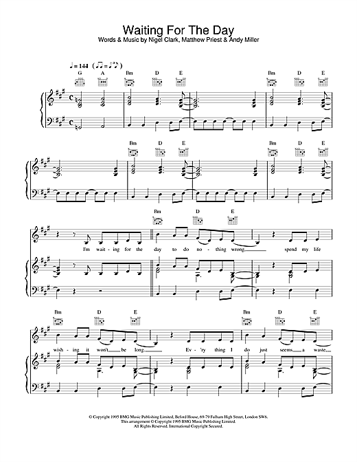 Dodgy Waiting For The Day sheet music notes and chords. Download Printable PDF.