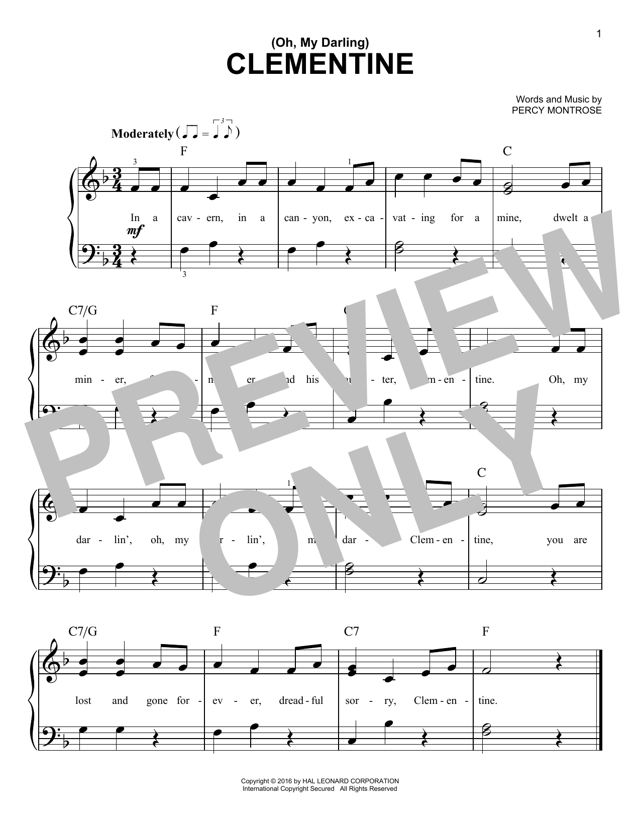 Percy Montrose (Oh, My Darling) Clementine sheet music notes and chords. Download Printable PDF.