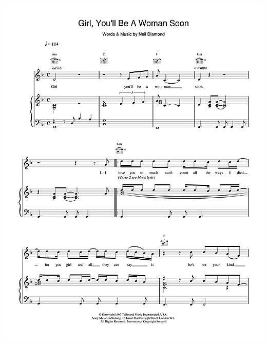 Urge Overkill Girl, You'll Be A Woman Soon (from Pulp Fiction) sheet music notes and chords. Download Printable PDF.