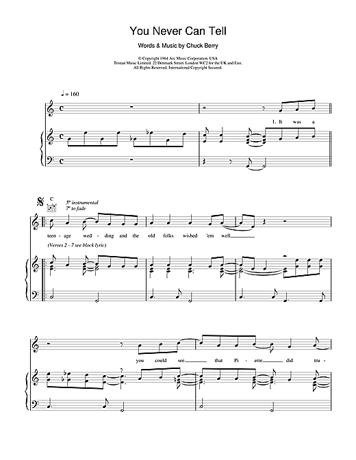Chuck Berry You Never Can Tell (from Pulp Fiction) sheet music notes and chords. Download Printable PDF.