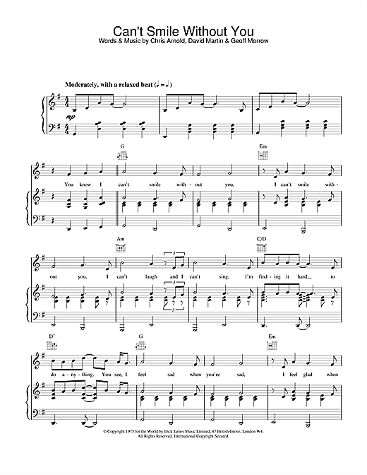 Barry Manilow Can't Smile Without You sheet music notes and chords. Download Printable PDF.