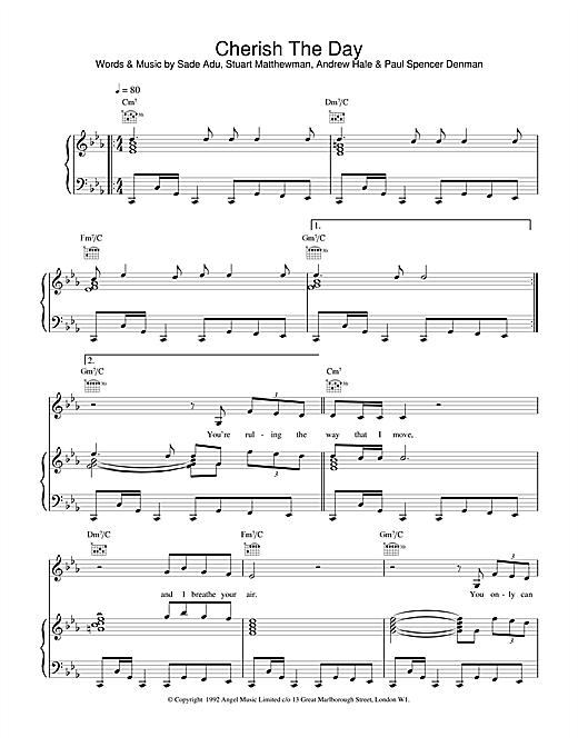 Sade Cherish The Day sheet music notes and chords. Download Printable PDF.
