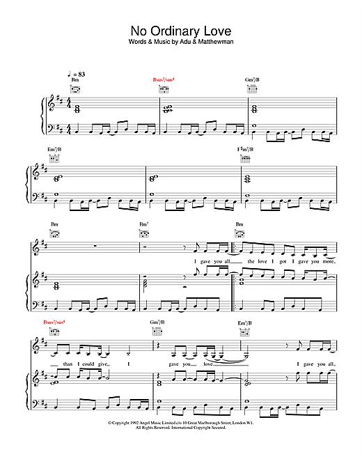 Sade No Ordinary Love sheet music notes and chords. Download Printable PDF.