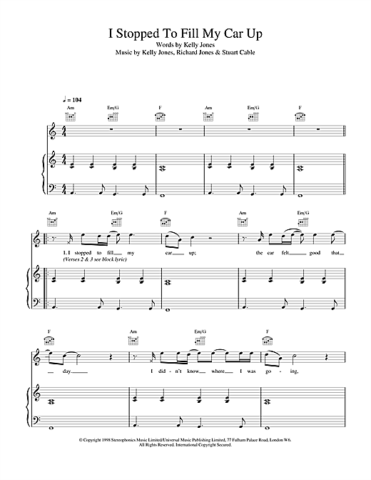 Stereophonics I Stopped To Fill My Car Up sheet music notes and chords. Download Printable PDF.