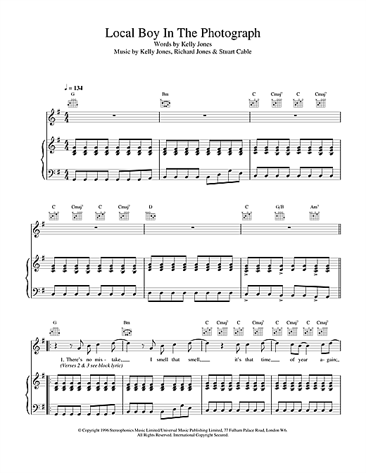 Stereophonics Local Boy In The Photograph sheet music notes and chords. Download Printable PDF.